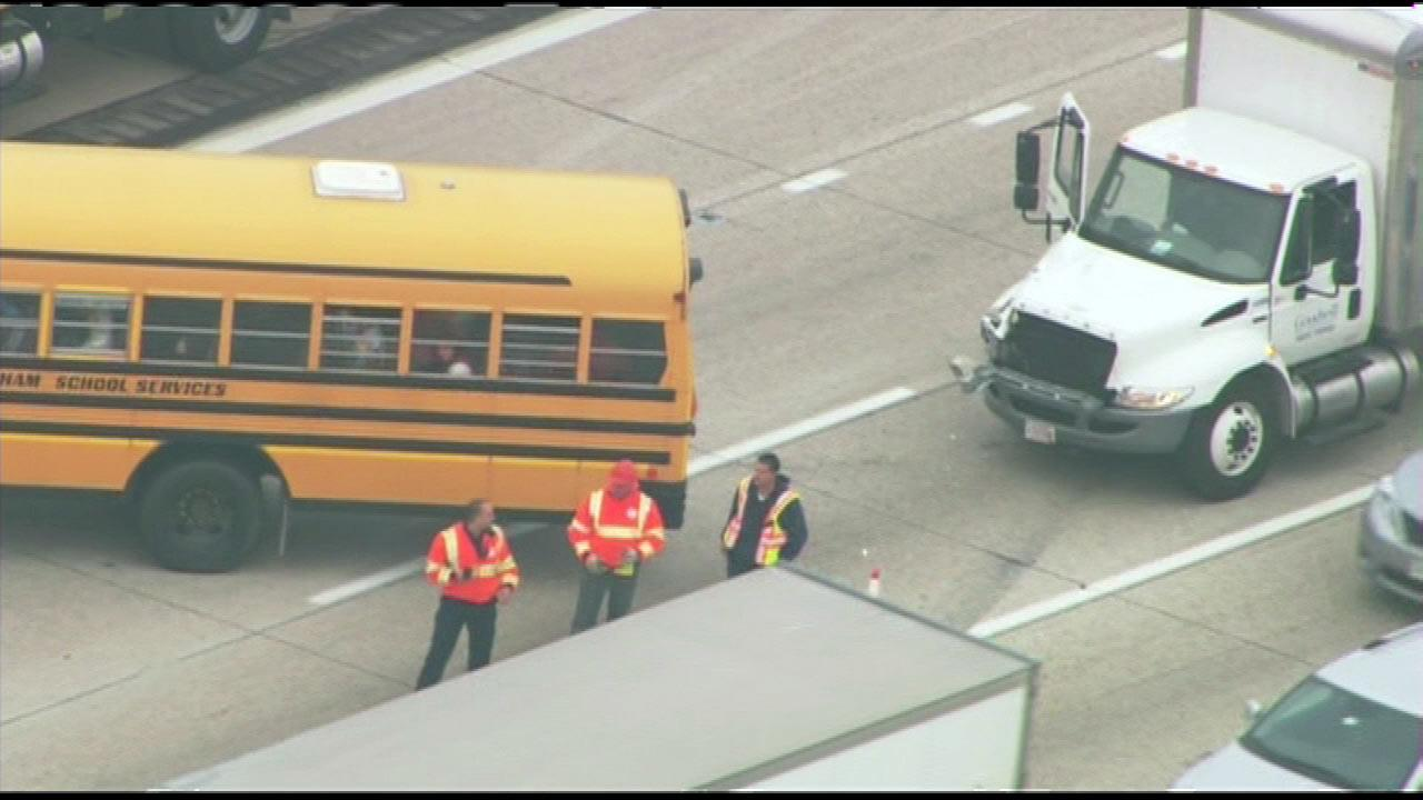 A school bus was rear-ended on Interstate 94 at Deerfield Road, Wednesday morning, Dec. 19, 2012. No students reported serious injuries. The bus driver reported minor injuries. The bus was taking students on a field trip to Allstate Arena in Rosemont.