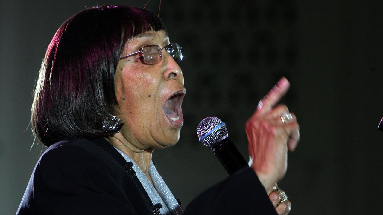 Inez Andrews delivers as hundreds listen on the nearly packed main floor of Operation PUSH Headquarters in Chicago during the 2009 funeral of Koko Taylor. Andrews died Dec. 19, 2012, at the age of 83. (AP Photo/Eric Y. Exit)