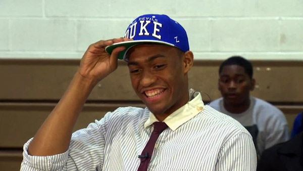 Jabari Parker of Chicago's Simeon Career Academy, one of the most highly touted recruits in years, announced his decision to attend Duke University, Thursday, Dec. 20, 2012.