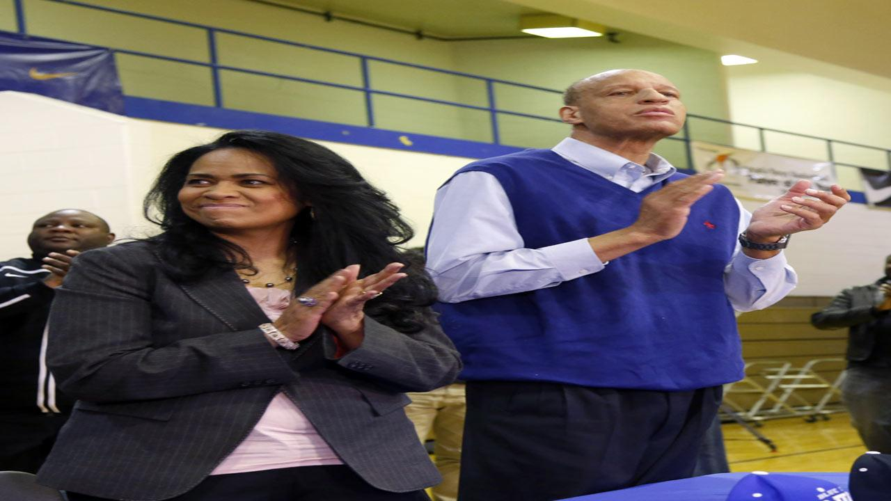 Lola and Sonny Parker, parents of  Simeon Career Academys Jabari Parker, applauds their son after he announced he will be attending Duke University during a news conference at his high school Thursday, Dec. 20, 2012, in Chicago. (AP Photo/Charles Rex Arbogast)