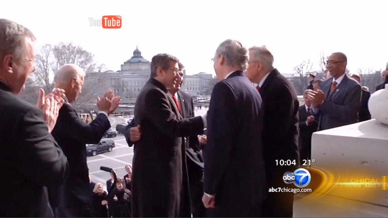 Mark Kirk climbs Capitol steps in Senate return after stroke
