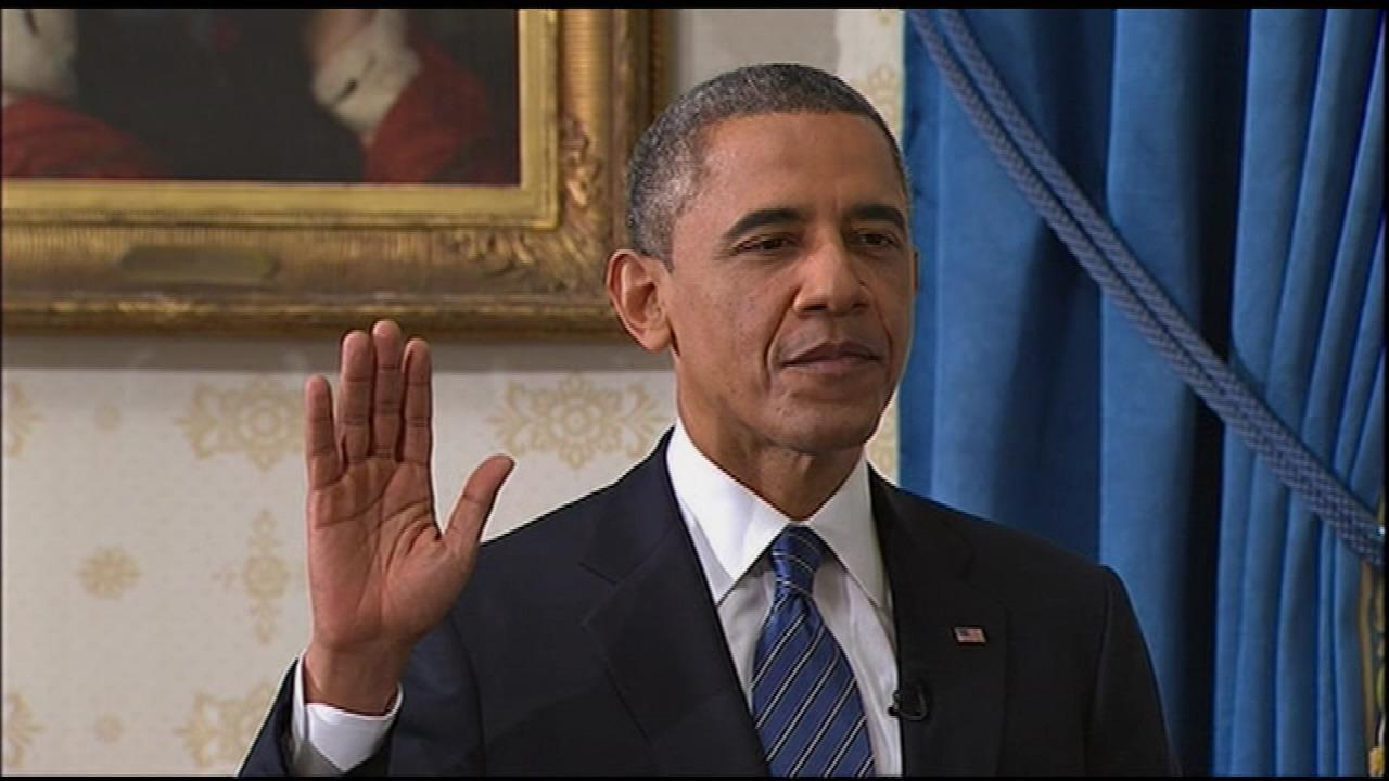 President Obama takes the Oath of Office.