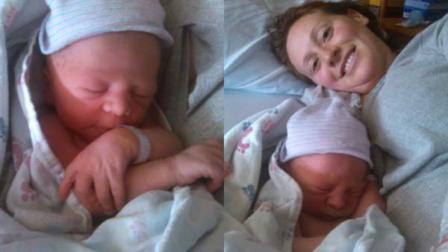 Left: Baby Aidan; Right: Baby Aidan and mom