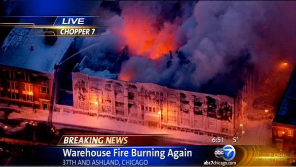 Giant Bridgeport warehouse fire reignites at 38th and Ashland