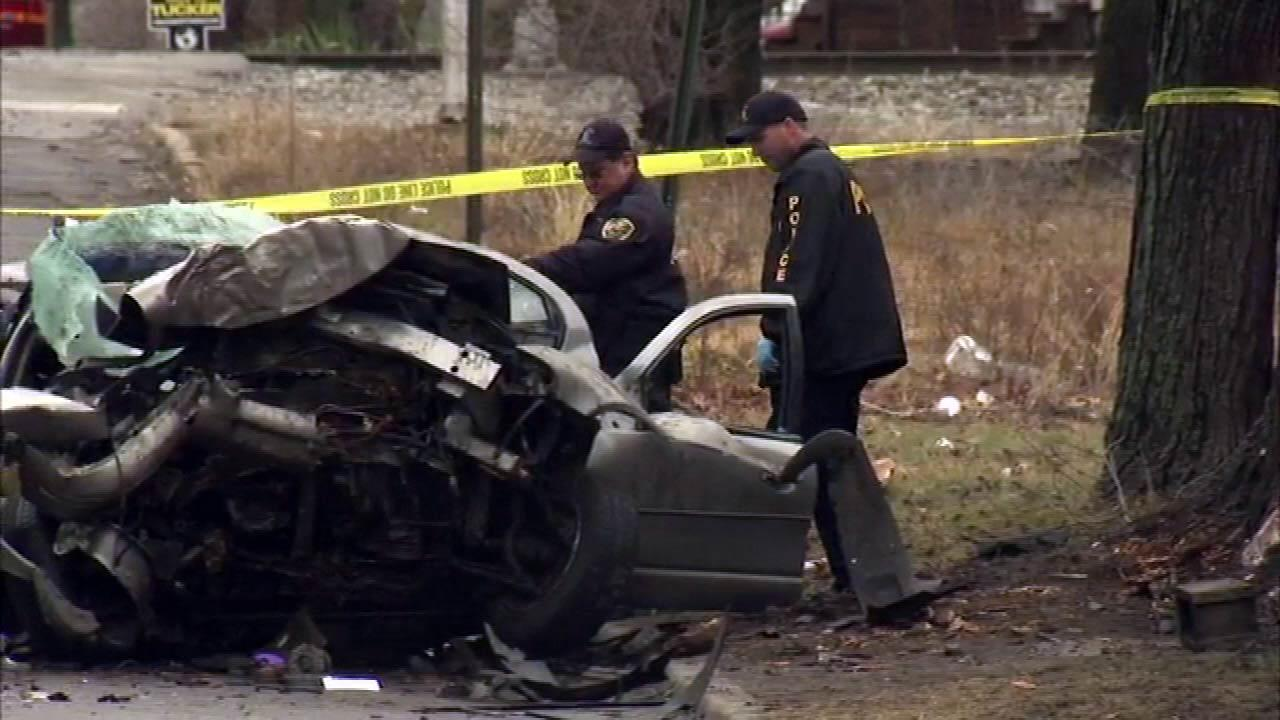 A police chase that began with a call about a burglary in progress ended with a deadly crash in Gary, Indiana, Wednesday, January 30, 2013.