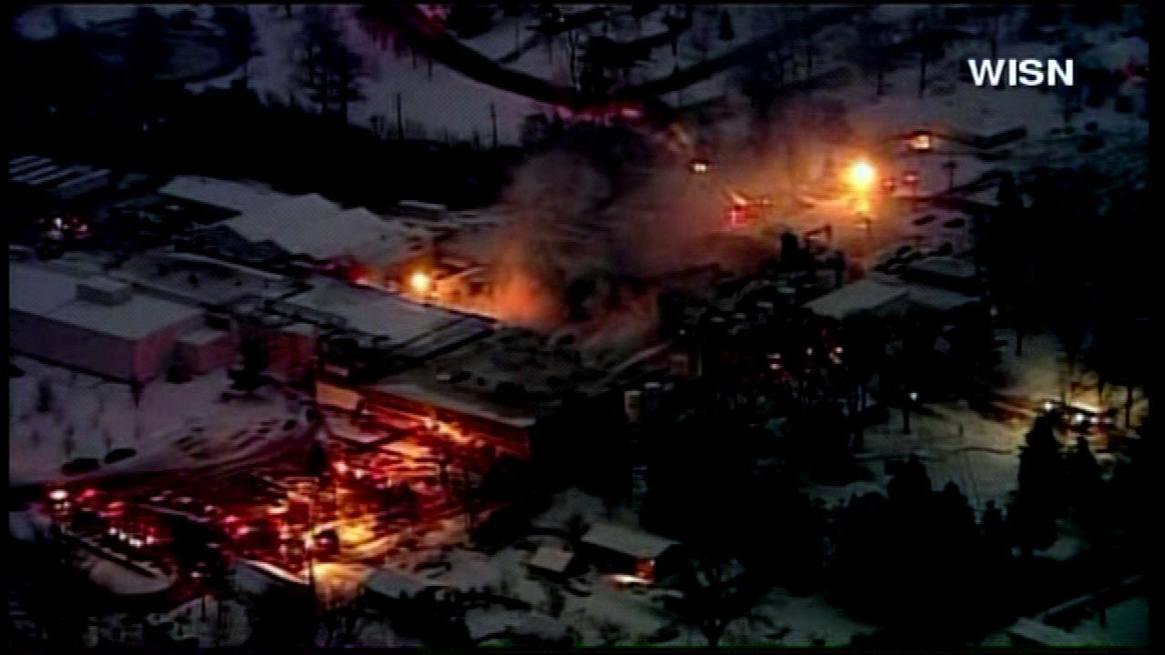 Fire crews battled a major blaze at a food plant about 75 miles north of Chicago in Burlington, Wisconsin, Thursday, January 31, 2013.