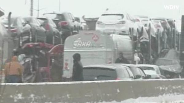 At least two dozen vehicles were involved in a chain reaction crash on Interstate 75 in Detroit, Michigan, Thursday, January 31, 2013.
