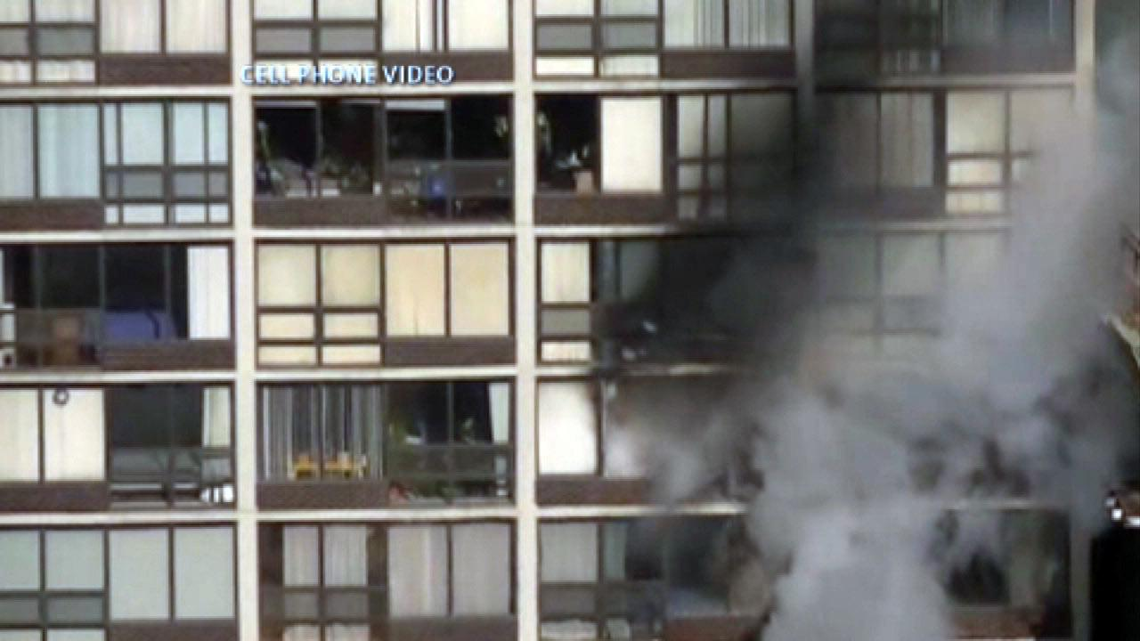 One person was injured during a fire at a Streeterville high-rise building in Chicago on Friday morning, February 1, 2013.