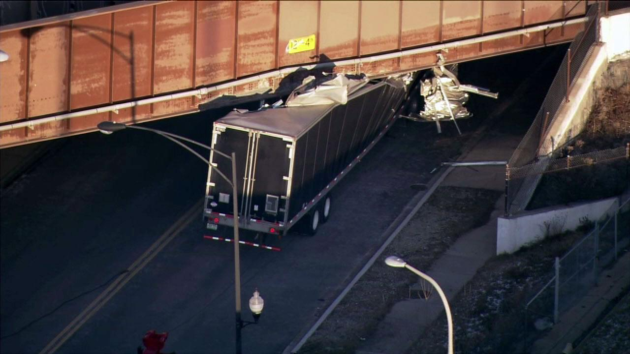 A semi truck got stuck under some railroad tracks on eastbound Webster near the Kennedy Expressway Friday afternoon, February 1, 2013.