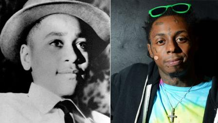 Emmett Till and Lil Wayne are seen in AP file photos.