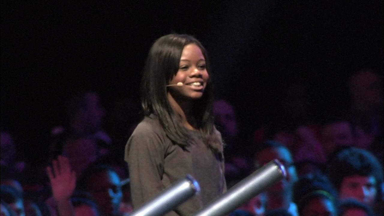 Olympian Gabby Douglas on stage at the Lets Move event at McCormick Place in Chicago, Thursday, February 28, 2013.