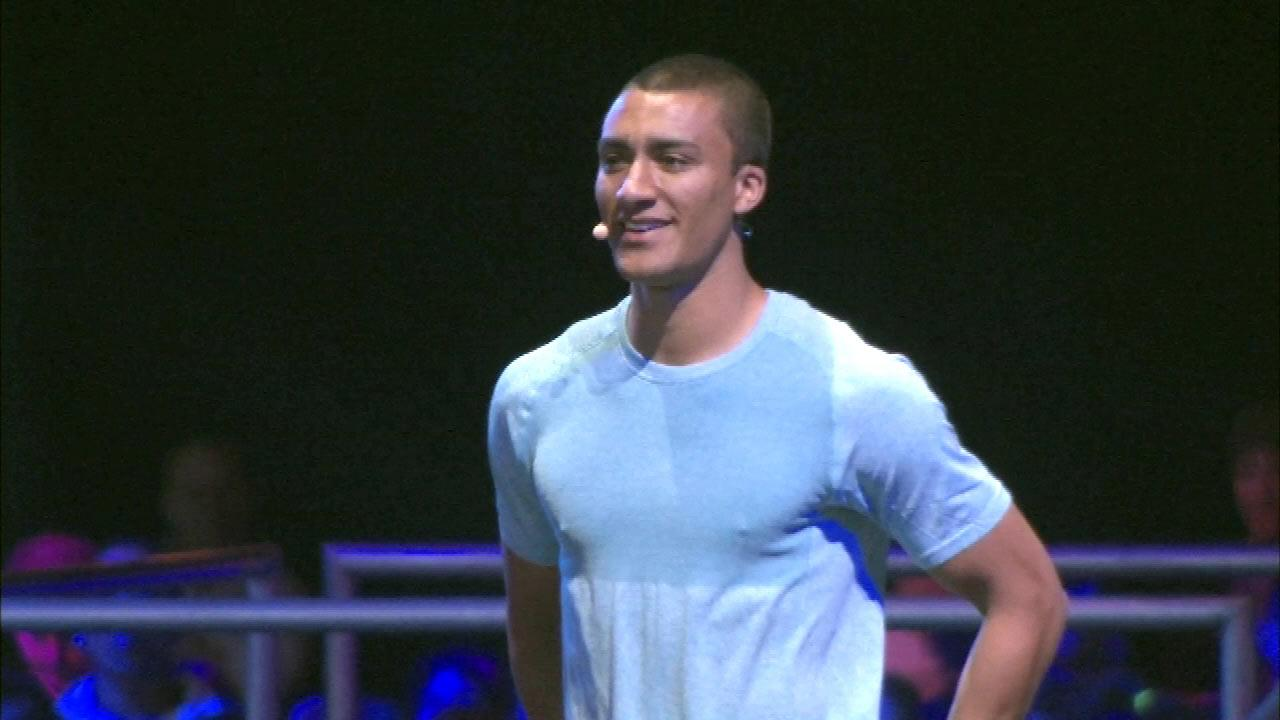 Decathlete Ashton Eaton on stage at the Lets Move event at McCormick Place in Chicago, Thursday, February 28, 2013.