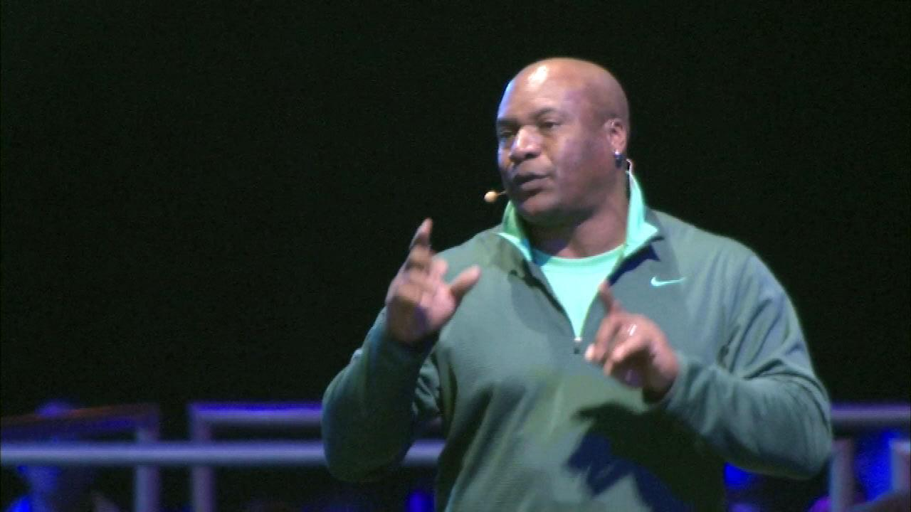 Two-sport superstar Bo Jackson on stage at the Lets Move event at McCormick Place in Chicago, Thursday, February 28, 2013.