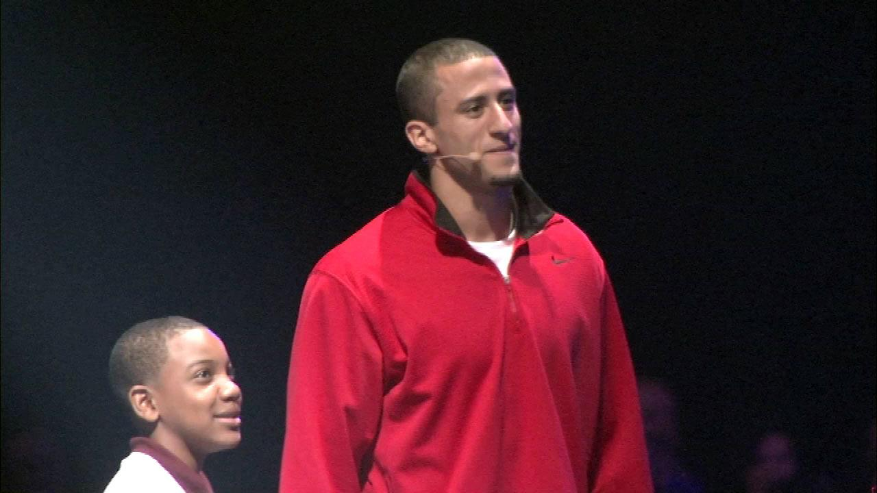 NFL quarterback  Colin Kaepernick on stage at the Lets Move event at McCormick Place in Chicago, Thursday, February 28, 2013.