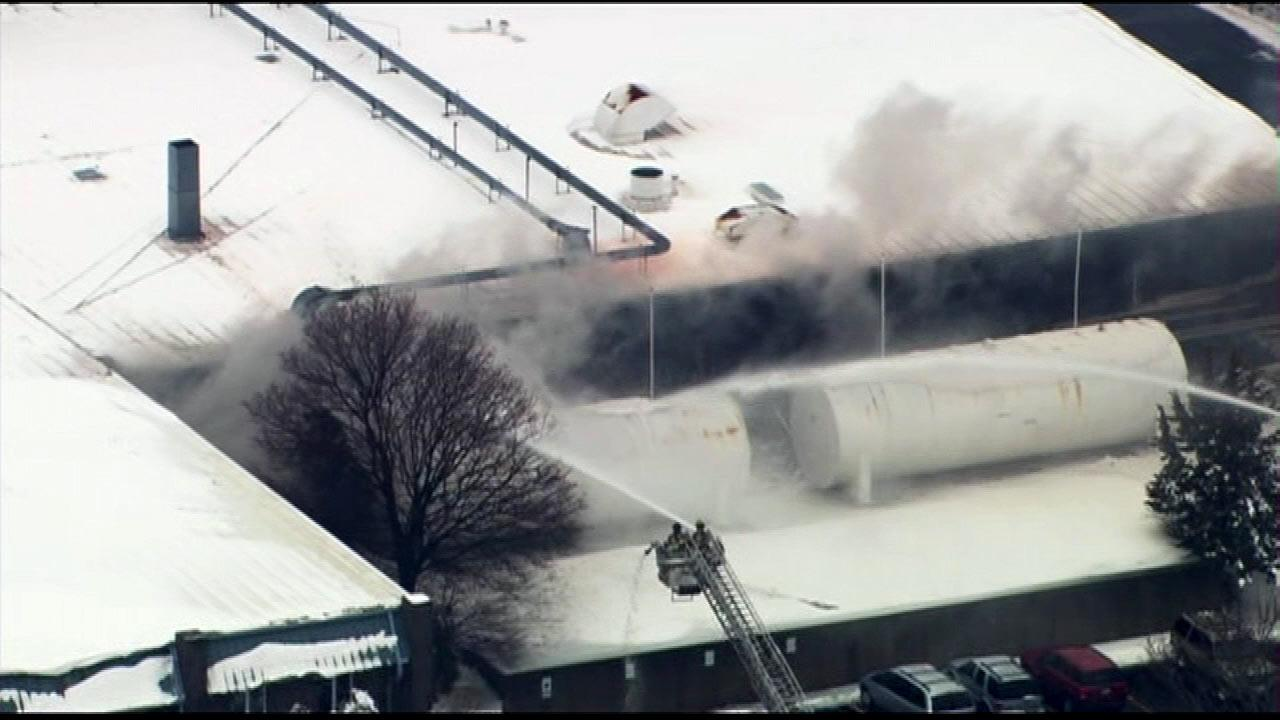 Firefighters were on the scene of a fire at an industrial park in northwest suburban Cary, Wednesday, March 6, 2013.