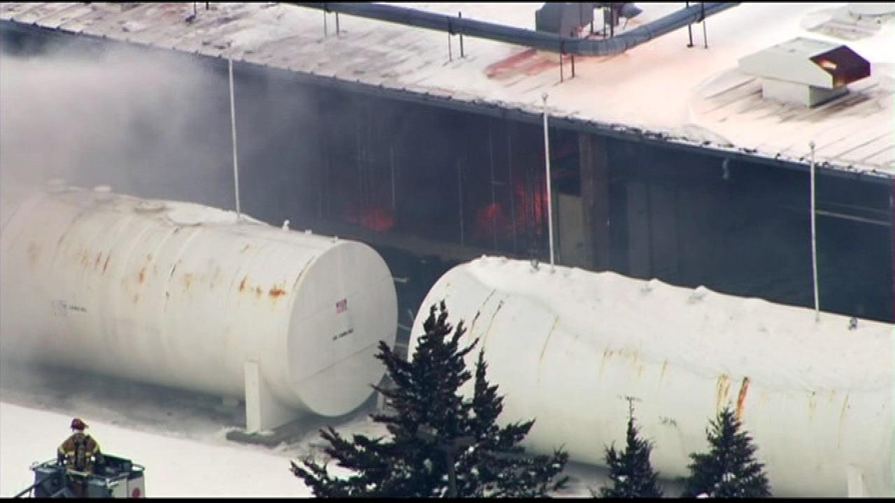 Firefighters were on the scene of a fire at an industrial park in northwest suburban Cary, Wednesday, March 6, 2013. <span class=meta>(Chopper 7)</span>