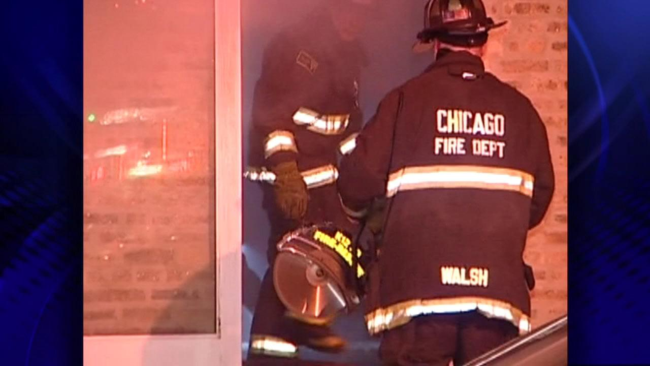 A firefighter was slightly injured after a fire broke out in the basement of Lillies Q restaurant in Bucktown, late Thursday night, March 14, 2013.
