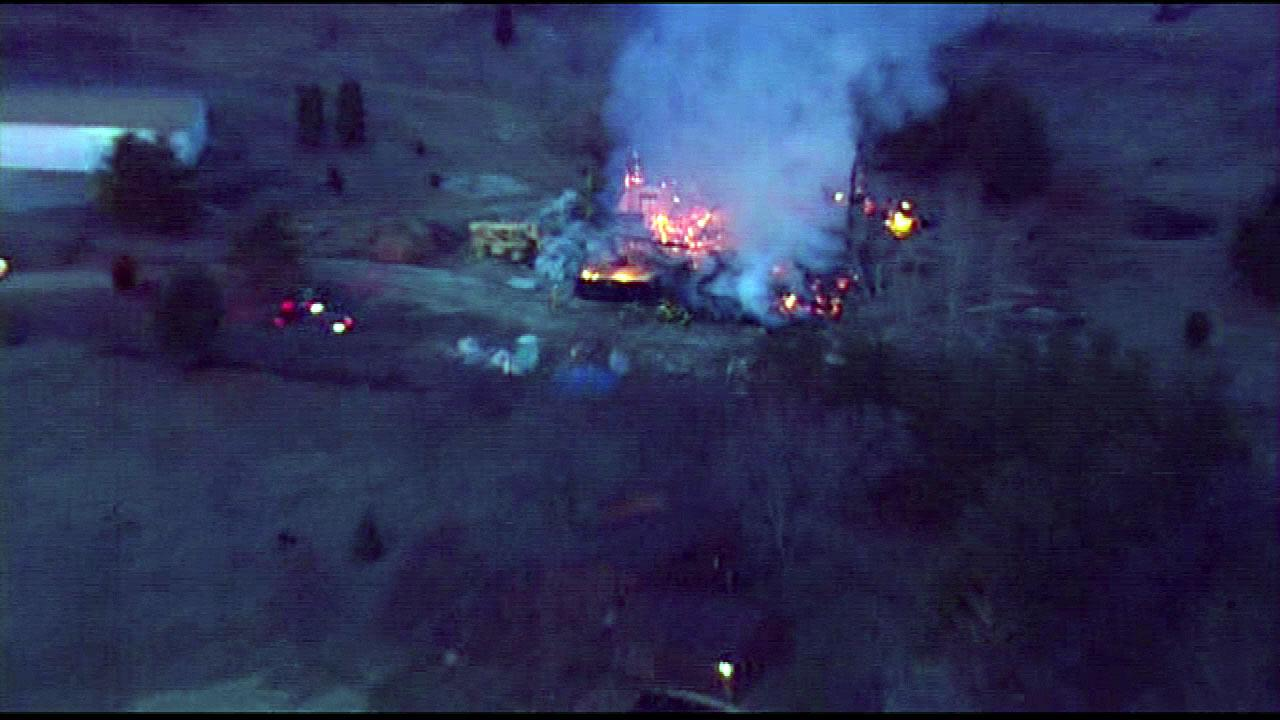 A home under construction in Homer Glen went up in flames Friday morning, March 29, 2013. <span class=meta>(Chopper 7)</span>