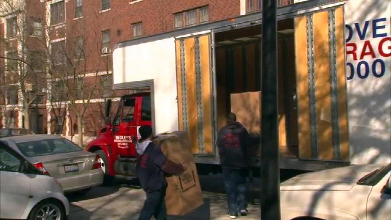 ABC7 News cameras spotted moving vans outside the former congressman Jesse Jackson Jr.s South Side home Wednesday morning, April 3, 2013.