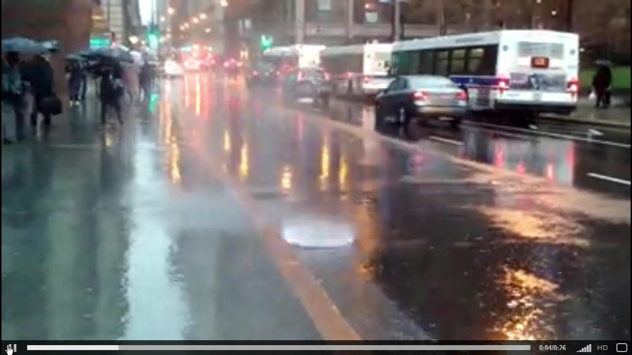 All the rain caused water in the sewers to shoot through a manhole near the Willis Tower in downtown Chicago. <b><a hrefvideo?id9070297>WATCH THE VIDEO</a></b>