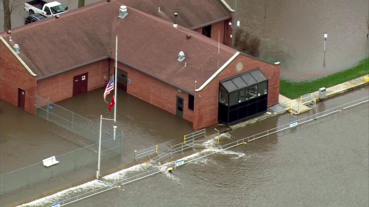 The  U.S. Army Corps of Engineers facility is  seen surrounded by water in Marseilles, Illinois.