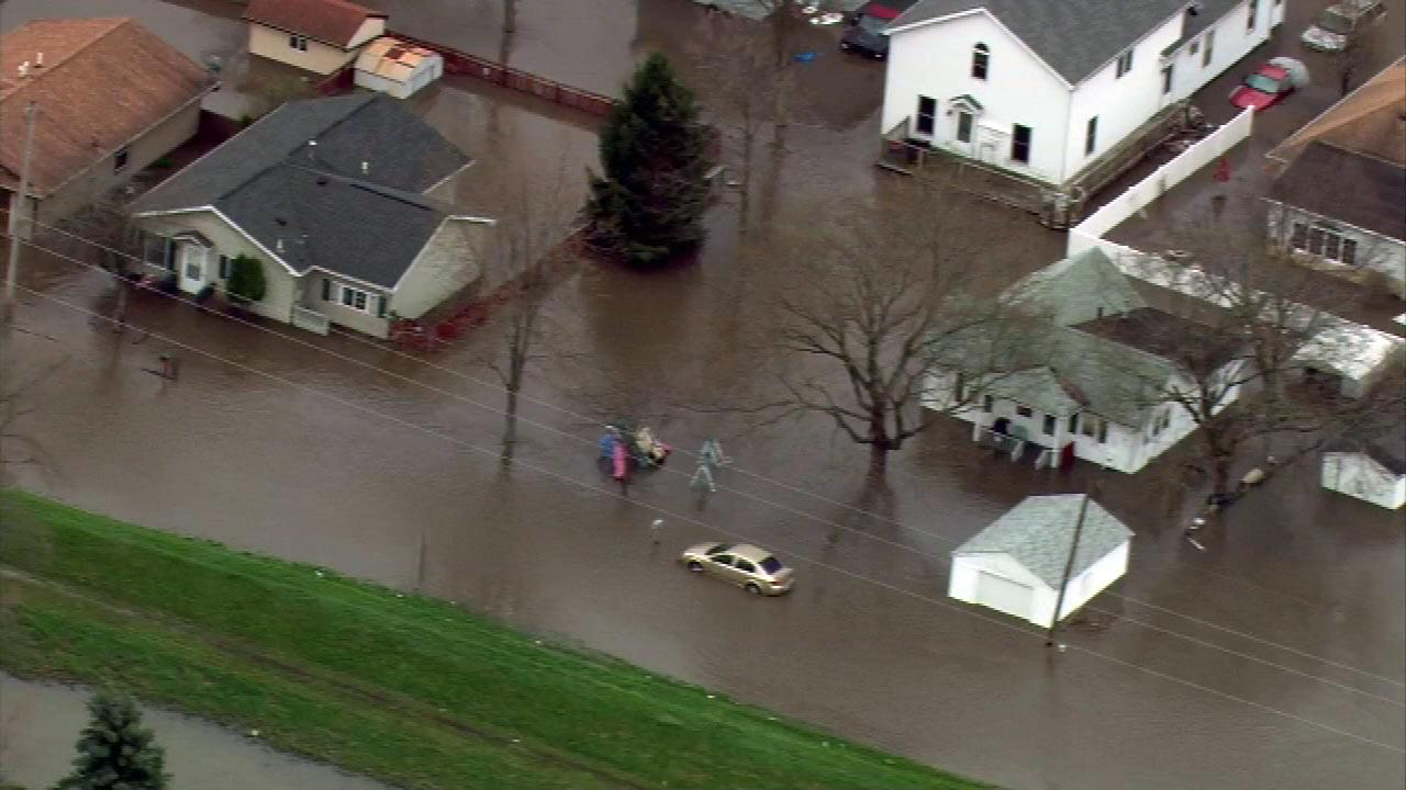 Chopper 7 HD flew over the town of Marseilles Friday morning, April 19, 2013, where officials say they have unprecedented flooding.