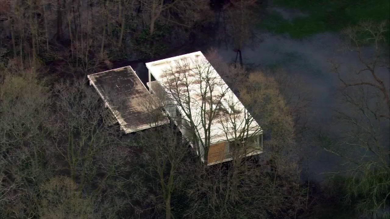 High water from the swollen Fox River threatens the Mies van der Rohe-designed Farnsworth House in Plano(Chopper7 image)