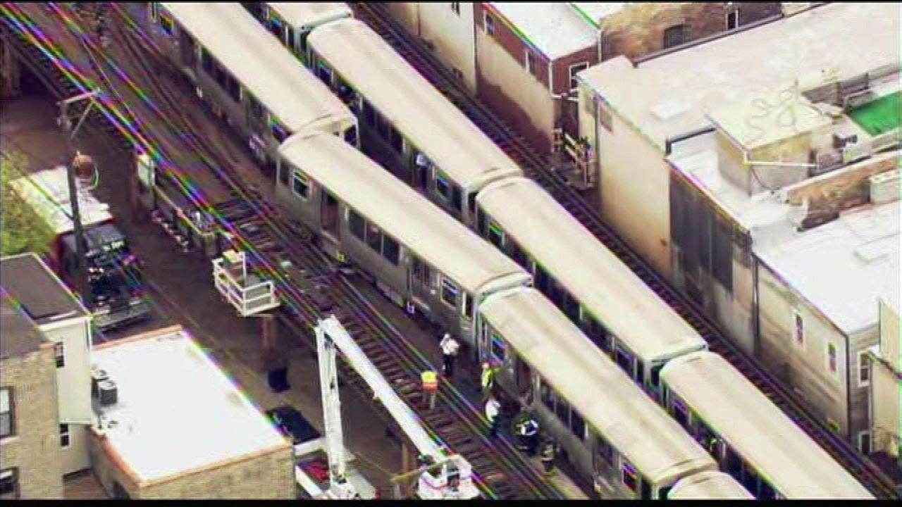 A CTA Red Line train derailed in the Lincoln Park neighborhood, Thursday, May 9, 2013, disrupting service on the Brown and Red lines.