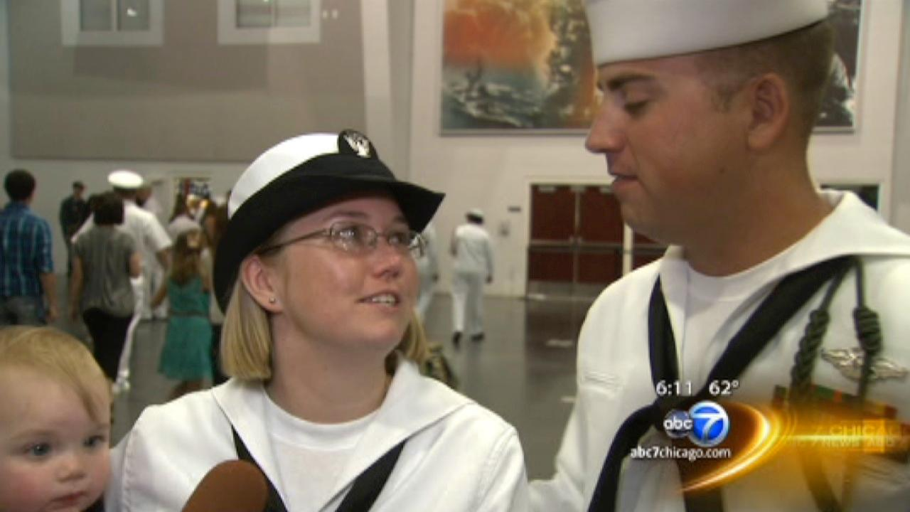 Heartwarming reunion for couple separated by their military service