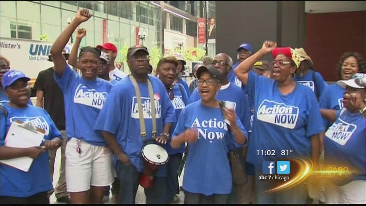Outside the federal courthouse in Chicago, members of Action Now rallied to stop CPS school closings, which they call racist.