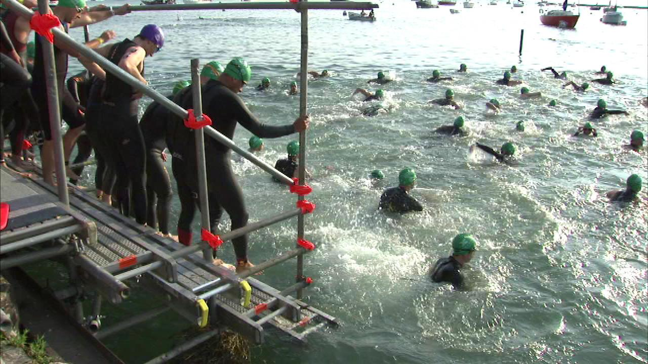 More than 7,000 elite athletes hit the lake Sunday morning in the 31st running of the Chicago Triathlon.