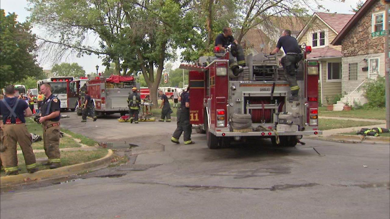 Fire crews are on the scene of an extra alarm fire in near west suburban Maywood Saturday afternoon in an apartment building at 201 West Green St.