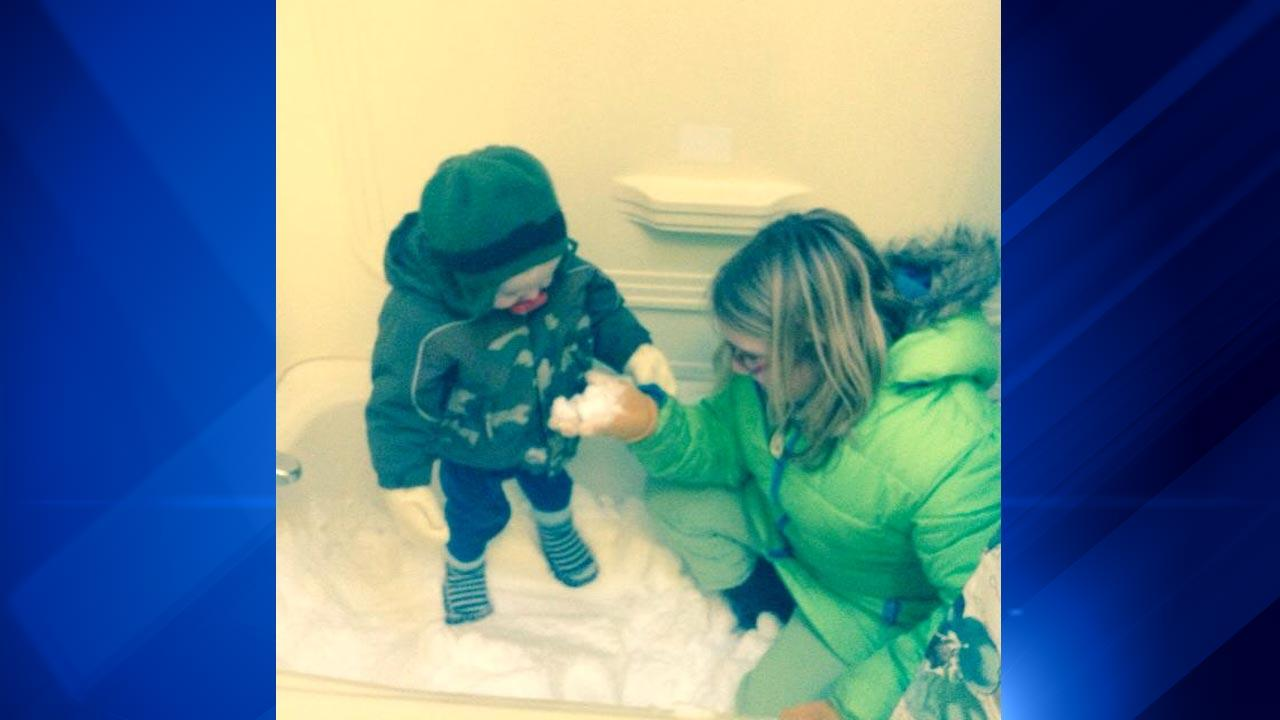 The bitter cold temperatures may have made it too cold to play outside, but some parents brought the snow inside for wintry fun in the bathtub! <span class=meta>(ABC 7 Chicago Facebook fan)</span>