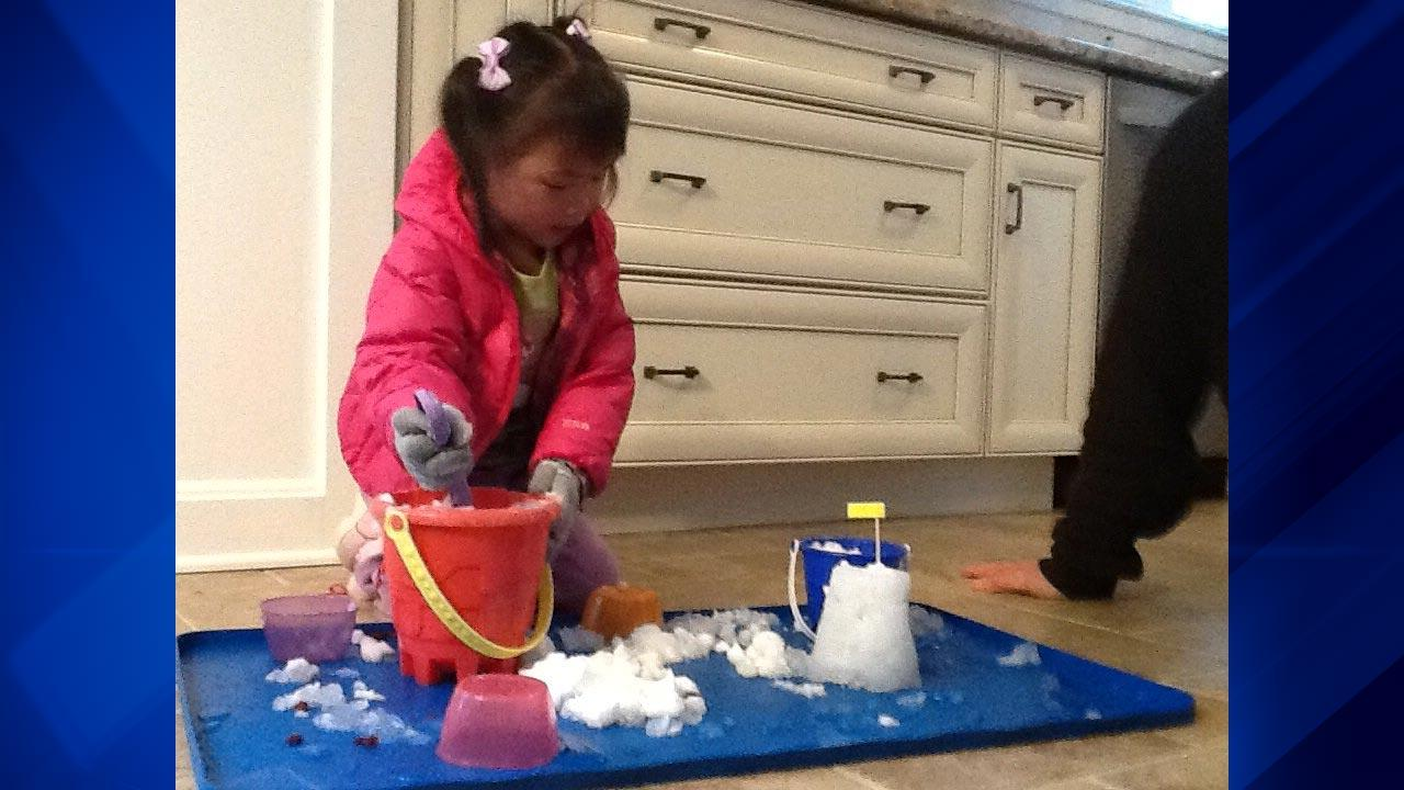 Beach toys doing double-duty in winter to make snow castles indoors!ABC 7 Chicago Facebook fan Kimberly Peck