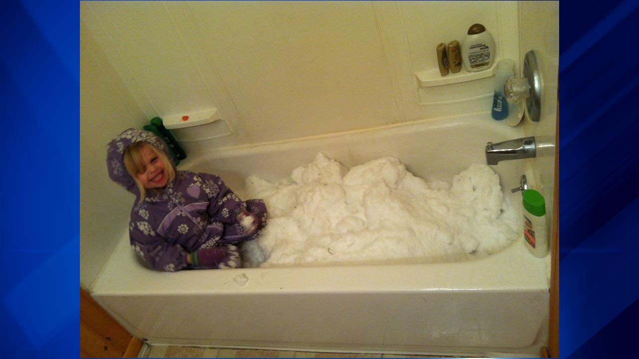 The polar vortex may have made it too cold to play outside, but some parents brought the snow inside for wintry fun in the bathtub! <span class=meta>(ABC 7 Chicago Facebook fan RaChelle Brookens)</span>