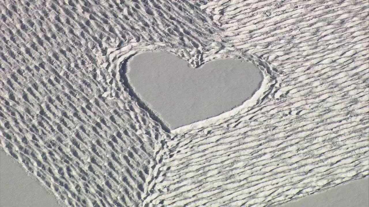Tyler estimates the heart took about an hour and 40 minutes. He made it all by shuffling his feet in the snow.