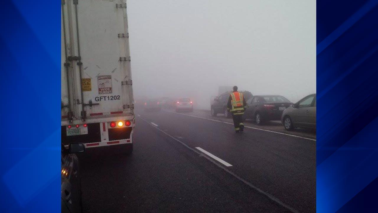 At least 20 vehicles were involved in a crash that shut down northbound  I-57 near Peotone between Manhattan-Monee Road and Wilmington-Peotone Road, officials said. <span class=meta>(ABC7 Facebook Fan Mandy Gill)</span>