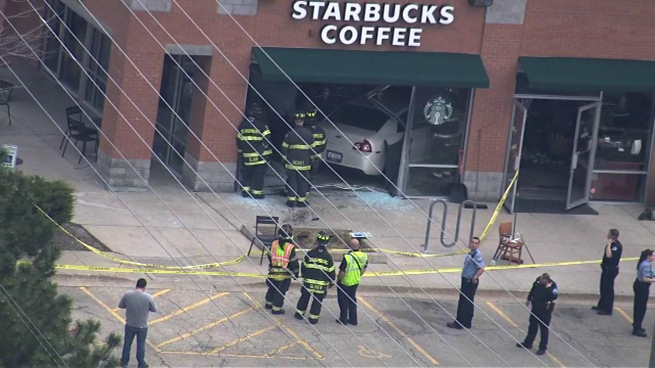 Car crashes into Starbucks in Schaumburg, injuring 3 people