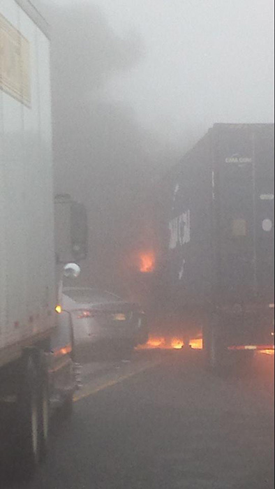 At least 20 vehicles were involved in a crash that shut down northbound I-57 near Peotone between Manhattan-Monee Road and Wilmington-Peotone Road, officials said.  <span class=meta>(ABC7 Facebook Fan Casey Blogg)</span>