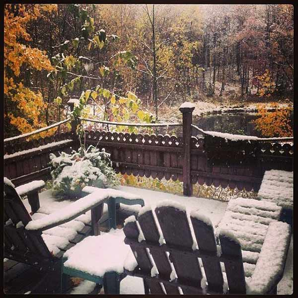 "<div class=""meta ""><span class=""caption-text ""> October Snow in the North Woods of Wisconsin, shared with ABC7 by Aimee Moore</span></div>"
