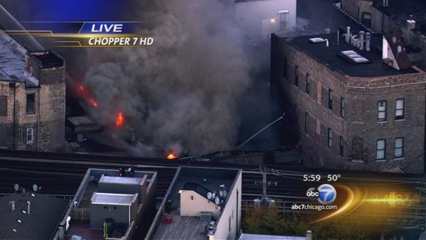 Wrigleyville fire burns on Clark Street