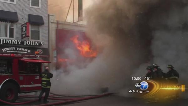 Crews battling Wrigleyville fire hotspots