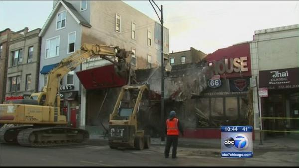 Demolition continues at Wrigleyville fire