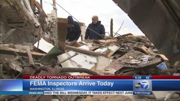 FEMA inspectors arriving in Washinton, IL