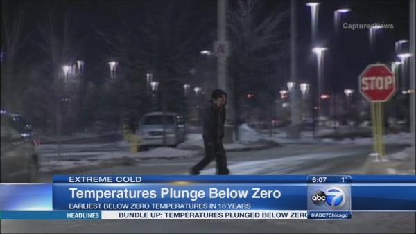 Temperatures plunge below zero