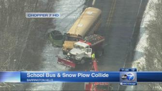 School bus crashes with snow plow