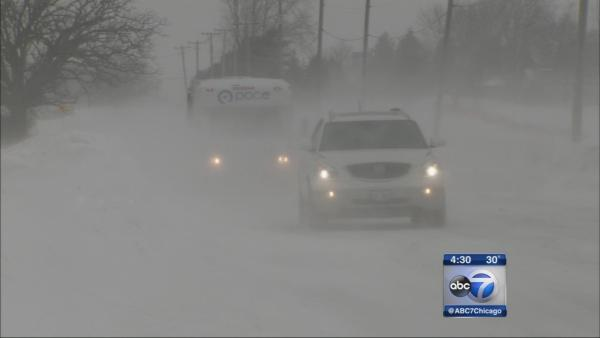 Blowing snow reduces visibility, slickens roads