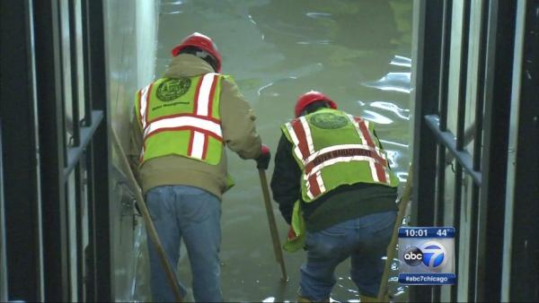 Grand Blue Line stop closed by water main break