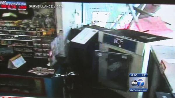 Woman narrowly escapes truck into store