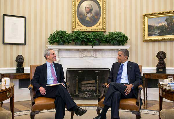 President Barack Obama talks with Chicago Mayor Rahm Emanuel in the Oval Office, Nov. 16, 2012. &#40;Official White House Photo by Pete Souza&#41; <span class=meta>(Photo&#47;The White House)</span>